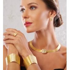 Pana İçiçe Kare Model Altın Kaplama Gümüş Trabzon Hasırı Set