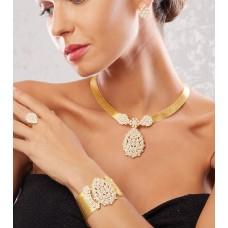 Ful Taşlı Damla Model Altın Kaplama Gümüş Trabzon Hasırı Set